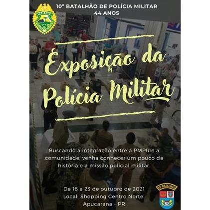 Exposição da PM no Shopping Centro Norte em Apucarana